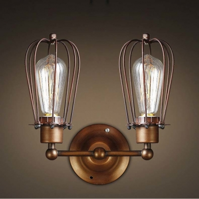Wrought Iron 2 Light Indoor Hallway LED Wall Sconce in Copper Finish ...