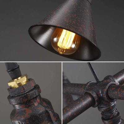 Mottled Rust Three Light Pipe Kitchen LED Island Light with Three Metal Cone Shade
