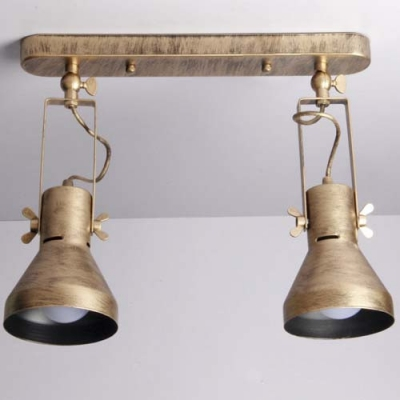 Vintage Dual Head Small Led Semi Flush Ceiling Light In Old Bronze