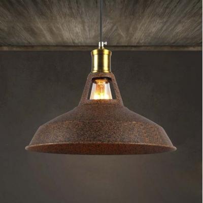 Retro Style 1 Light Mini Barn Pendant in Rust/Brown Finish, HL424918, Brown;rust