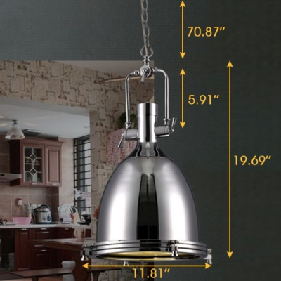 Industrial Style 1 Light Large Pendant in Polished Nickel