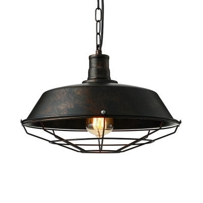 10/14/18 Inches Wide Weathered 1 Light Industrial Cage LED Pendant Lighting