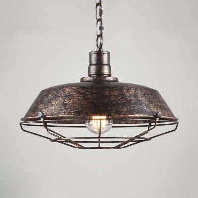 14 inches wide weathered 1 light industrial cage led pendant 14 inches wide weathered 1 light industrial cage led pendant lighting aloadofball Gallery