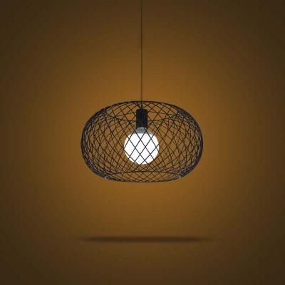 Industrial 1-Light Round Metal Mesh Foyer LED Pendant Lighting in Black Finish