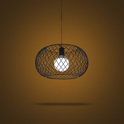 Industrial 1 Light Round Metal Mesh Foyer Led Pendant
