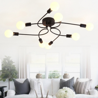 Chic Modern Designed 8 Light Edison Bulb Style Large Semi Flush Mount Indoor Ceiling Fixture Beautifulhalo Com
