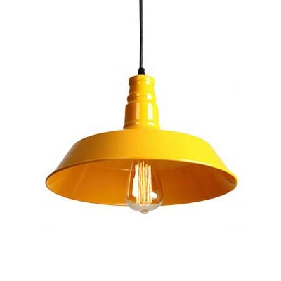 Fresh Yellow Finished 1 Light Indoor Warehouse Barn Pendant Lamp