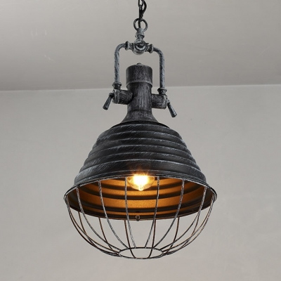 1 Light Cone Pendant in Antique Black with Cage Shade