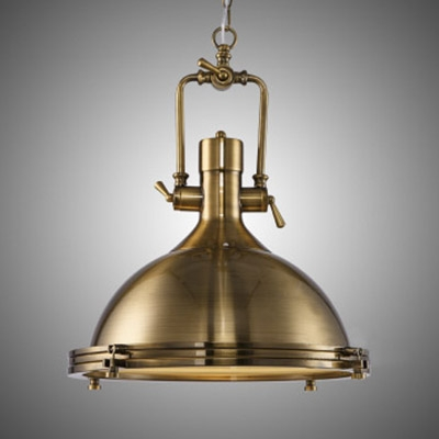 Industrial Antique Gold Pendant Light in Dome Shade 18