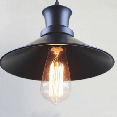 Full Sized Industrial Metal Shade Ceiling Fixture In Matte Black Finish