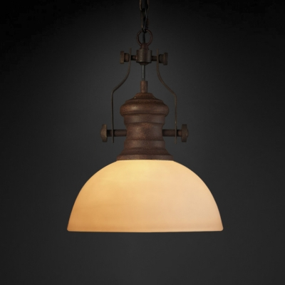 Baycheer / Industrial Style White Glass One Light Hanging Lamp in Antique Rust Finish
