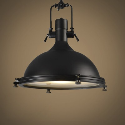 16'' Wide 1 Lt Industrial Black Bowl Metal Indoor Pendant