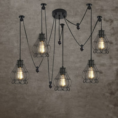 Industrial style five light multi light pendant with petal cage industrial style five light multi light pendant with petal cage aloadofball Image collections