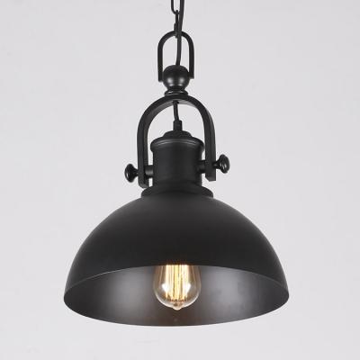 Vintage Style Black Dome Shade Single Light Hanging Lamp