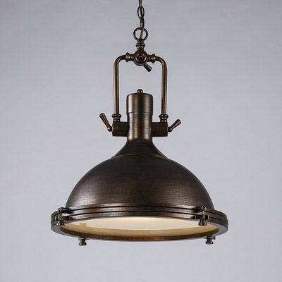 Round Brushed Bronze Finished Single Light Pendant