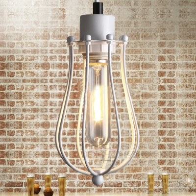 Baycheer / Cage Style Simple One Light Hanging Pendant in White Finish