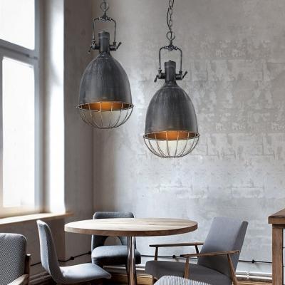 Industrial 1 Light Bell Indoor Pendant in Antique Black Finish