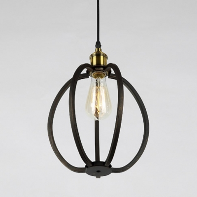 LOFT Style Slatted 3-Lt Hanging Pendant with Different Cage