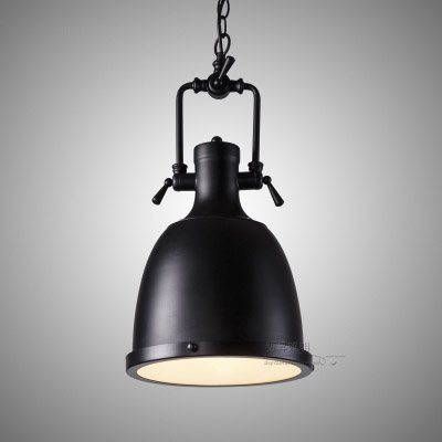 Industrial Style Bell Metal Pendant in Black Finish