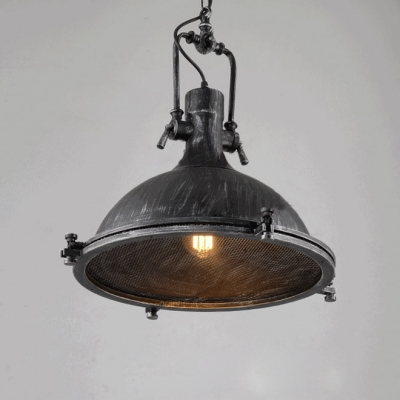 Vintage Style 1-Lt Dome Metal Pendant in Antique Black Finish
