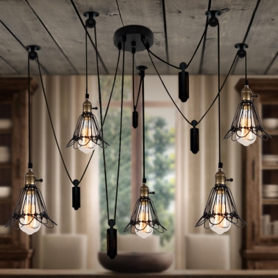 Wrought iron style adjustable five light multi light pendant with wrought iron style adjustable five light multi light pendant with cage mozeypictures Image collections