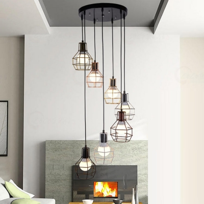 7 Light Multi-light Foyer Hanging Pendant with Wire Guard