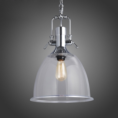 Industrial Clear Glass Single Light Pendant with Bell Shade