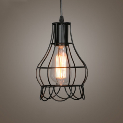 Wire Rose LED Pendant Light with Black Cage - Beautifulhalo.com