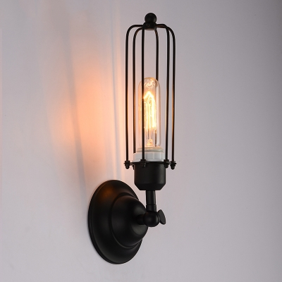Industrial Iron Tubular Cage 1 Light Black LED Wall Sconce