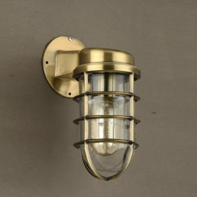 One Light Mini Sized Industrial Iron Hallway Wall Light in Matte Brass