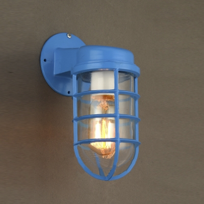 1 light industrial lodge blue finish metal outdoor wall light aloadofball Image collections