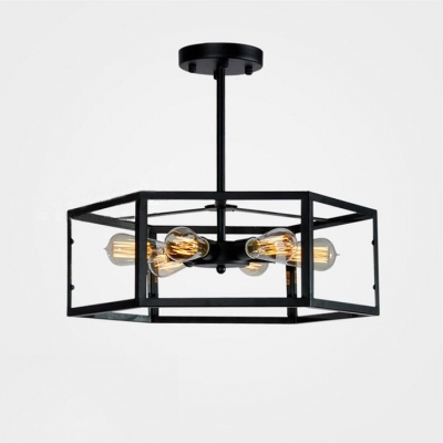 Industrial Style 6 Light LED Close to Ceiling Light with Glass Shade