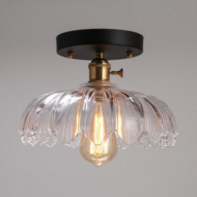 1 Light Industrial Close to Ceiling Fixture Contemporary Semi Flush