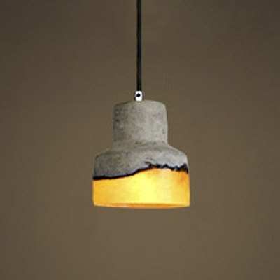 Industrial Style Cement and Glass Shade 5-inch Wide Mini Pendant