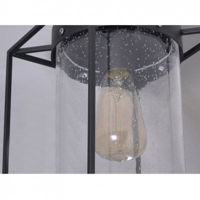 Seedy Glass Shade Ceiling Fixture Metal Wire Cage Semi Flush Ceiling Light