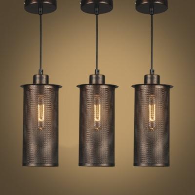 Vintage Style Antique Rust Finished Cylinder Shade Single Light Hanging Light