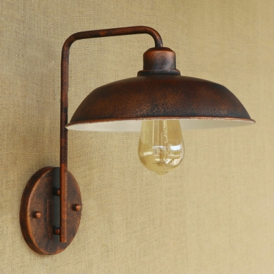 One Light Industrial Wall Sconce in Rust Finish