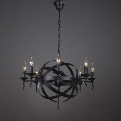 Industrial orb chandelier in matte black 8 light globe in candle industrial orb chandelier in matte black 8 light globe in candle style aloadofball Image collections