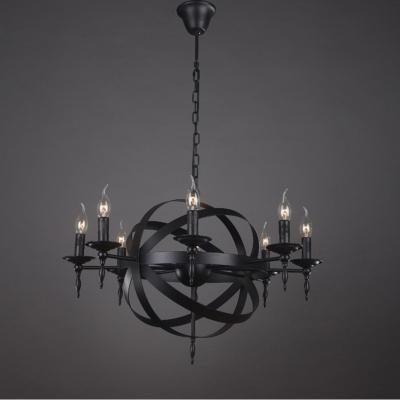 Industrial Orb Chandelier in Matte Black 8 Light Globe in Candle Style ... & Industrial Orb Chandelier in Matte Black 8 Light Globe in Candle ...