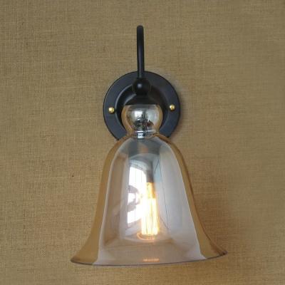 Bell Shaped Amber Glass Shade Gooseneck Arm Industrial Wall Light