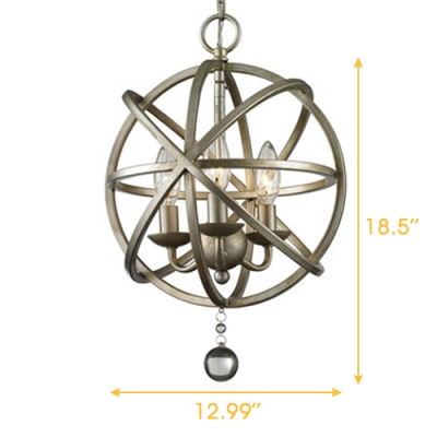 Industrial Foyer LED Orb Chandelier Pendant with Crystal Accents in Antique Pewter, 3 Light