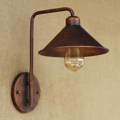 Cone Shade Industrial 1-Lt Rust Metal Wall Light for Hallway