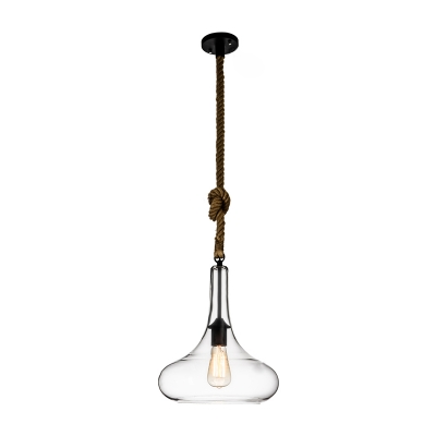 Industrial Style Single Light Clear Glass Pendant Light with Rope