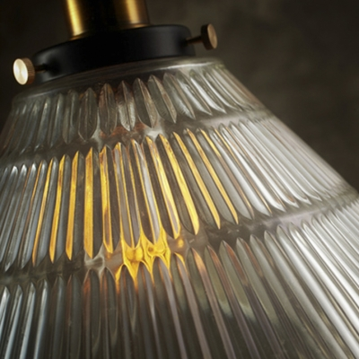 Ribbed Glass Shade Industrial Small Cafe Hanging Pendant Light