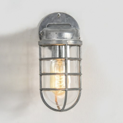 Classic One Light Sconces Industrial Metal Frame Wall Light with Glass Shade
