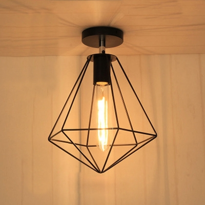 Diamond Shape Style Single Light Semi-Flush Ceiling Fixture ...