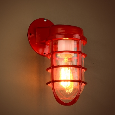 Industrial 1-Light Red Finish Metal Frame Hallway Wall Sconce