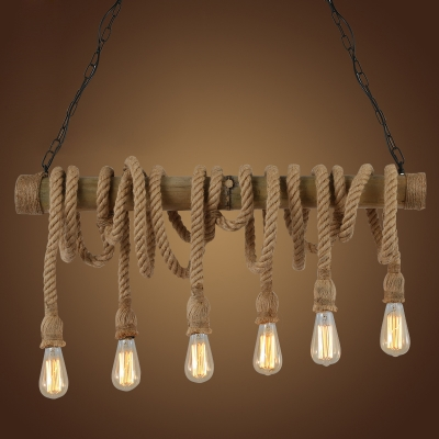 Rustic Style 6 Light Multi Light Pendant in Natural Rope HL429654 фото