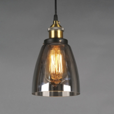 Single Light Industrial Book Shop Ceiling Fixture with Dark Glass Shade