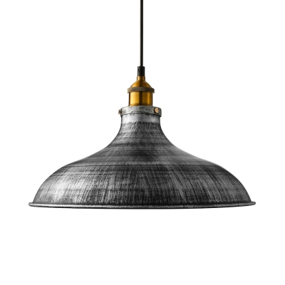 Aged Silver Dome Pendant Lighting Industrial Kitchen Warehouse Single Hanging Light